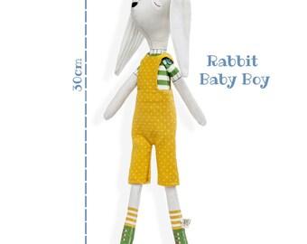 RABBIT BABY BOY - Plushie Stuffed Toy - Rabbit Softie for Girl - Woodland Animal Doll - rag doll -