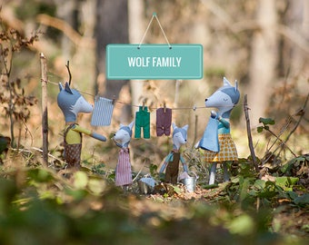 Cute WOLF FAMILY - woodland animals - stuffed wolves