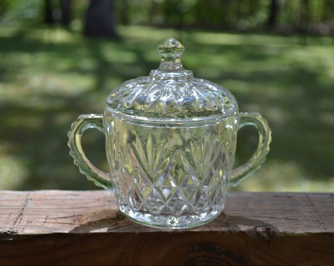 Vintage Clear Glass Sugar Bowl and Lid Retro Glassware Coffee Tea Party Accessory PanchosPorch