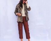 Leopard Faux Fur Coat, Stunning Vintage 1960s Leopard Print Swing Coat, Cream Faux Fur Coat, 60 Animal Print Winter Coat, Christmas Gift Her