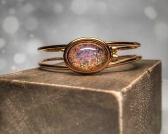 Fire opal bracelet, gold fire opal cuff bracelet, opal bridesmaid jewelry, opal bridesmaid bracelet,  opal jewelry