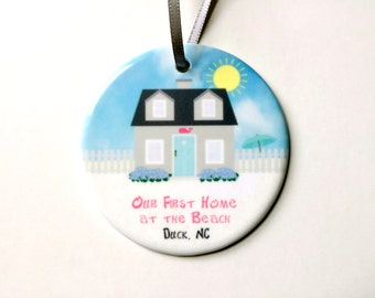 Beach House Christmas Ornament - Personalized Our First Home at the Beach - New Home Housewarming Gift - Beach Cottage Coastal Holiday Decor