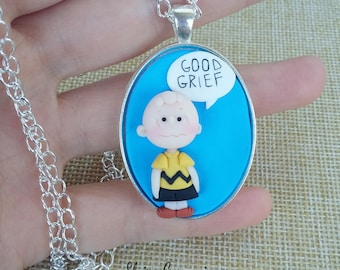 Peanuts necklace Charlie Brown, Lucy, Snoopy, Linus, cartoons, polymer clay