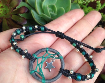 Handmade Half Moon mini Dreamcatcher Bracelet - Teal/ Grey with Silver Star Charm - Teal and silver plated beads - adjustable