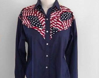 Vintage 1970s H Bar C Ranchwear Navy Western Shirt Stars and Stripes Size Medium American Flag Print