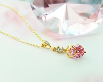 Pink CZ Necklace, Gold Heart Necklace, Valentine's Day Gift For Her, Gold Cubic Zirconia Jewelry, Pink Necklace, Pink Bridesmaid Gift, N2418