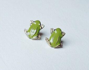 Green Frog Toad Stud Earrings Studs Enamel Enameled Funky Neat Small Cute Animal Jewellery Jewelry
