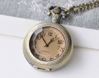 1 PC Antique Bronze Round Faceted Glass Cover Pocket Watch Medium/Large Size Available