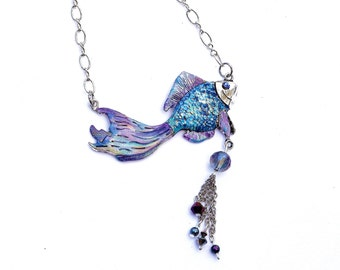 Painted Blue Fish Pendant Necklace Sea Life Boho Chic Silver Jewelry FREE SHIPPING