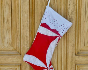 Vintage Christmas Stocking Farmhouse Christmas- Handmade Christmas Stockings with CUFFS-Antique Quilt-Old Quilt Stocking Red White