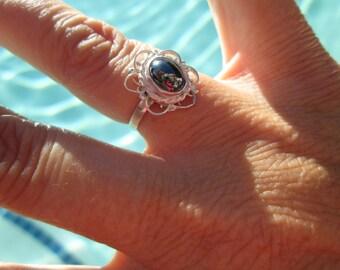 Ornate Hematite ans Sterling Ring Size 5.5