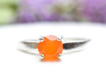 Natural Carnelian Brilliant Cut Ring with 925 sterling silver *Free worldwide shipping*