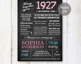 90th Birthday Invitations | Chalkboard invitation for women best great grandmother granny nanny parents | What happened facts 1927 DIGITAL!