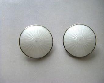 GUILLOCHE ENAMEL EARRINGS Vintage guilloche norwegin enamel earrings. Sterling Enamel earrings. Mid Century enamel jewelry