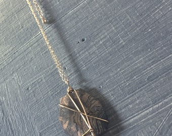 Gold-wrapped faceted petrified wood pendant necklace