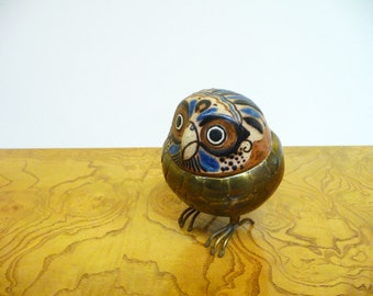 Mid Century Brass and Ceramic Owl Sculpture from Blasquez Mexico