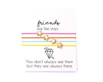 Best Friend Bracelet, Friendship Bracelet, Wish Bracelet, Star Bracelet, Friends are like stars, Best Friend Gift, Gift For Friend