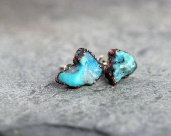 Turquoise Earrings Bright Blue Stone Posts Sterling Silver Stud Electroformed Earrings Saggitarius Birthstone Gemstone Jewelry Natural Stone
