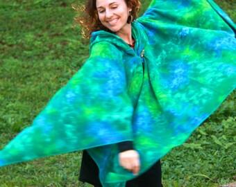 HOODED FLEECY CAPE, Handmade, medieval, forest, pixie, hoodie, cloak, tie-dye, Australian made