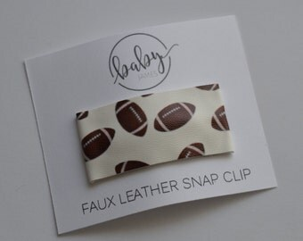 Snap Clip- Footballs Faux Leather- Single Hair Clip