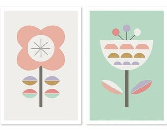 Scandinavian Flowers (Lilac, Mint and Pink), Series of Two Art prints, Nursery art, nursery decor, scandinavian, girlsroom art, girl art.