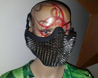 Spiked Half Mask! Black with chrome real metal spikes! Awesome mask!