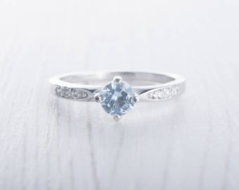 Genuine aquamarine Solitaire engagement ring - Available in white gold and sterling silver - handmade engagement ring - wedding ring