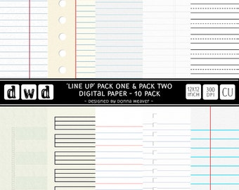 Commercial Use *Instant Download* Digital Papers **LINE UP COMBO - Pack One and Two** Scrapbooking Paper Pack