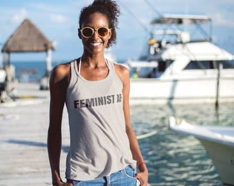 "Feminist Tank Top: ""Feminist AF"" by Fourth Wave Apparel (multiple colors) Vintage Style Feminist Tank Top"