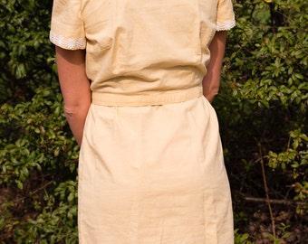 1960s Yellow Sheath Dress, Size S/M