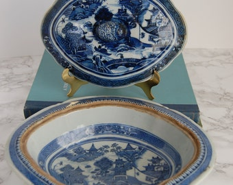 Antique Chinese Export Canton Blue & White Tureen - Covered Bowl Tureen Asian - Blue Willow Dish