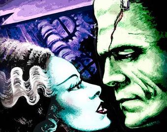 3 SIZES Bride of Frankenstein art print Classic horror movie monsters by Scott Jackson