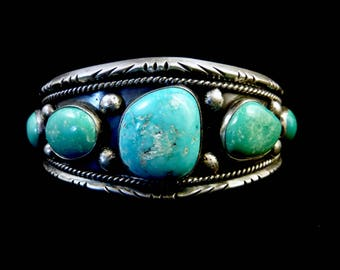 50g Vintage Navajo Sterling Silver Cuff Bracelet w FABULOUS Fox Mine Turquoise Stones! Gorgeous Colors! Universal Colectable Cuff!