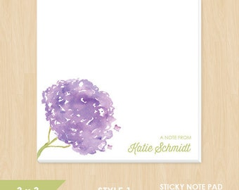 Personalized Sticky Note Pad // Watercolor Hydrangea Flowers // S112