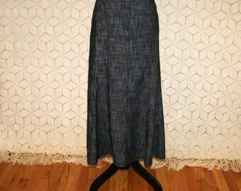 Dark Blue Gray Chambray Denim Skirt Flared Boho Skirt Medium Casual Skirt Womens Skirts Long Skirt Size 10 Skirt Womens Clothing