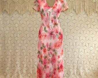 Romantic Boho Pink Floral Chiffon Maxi Dress Short Sleeve Spring Dress Garden Tea Dress Summer Dress Scoop Neck Small Medium Womens Clothing