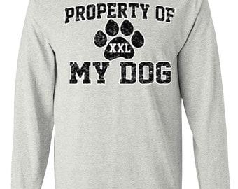 Property of My Dog Long Sleeve T-Shirt, Dog Shirt for Men and Women, Ash Gray