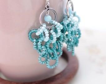Chandelier earrings Beaded earrings Gypsy earrings Blue earrings Long earrings Openwork earrings Seed bead earrings Clusters earrings