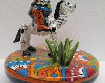TALAVERA CATRINA CHARRO in horse maguey plant mexican folk art day of the dead