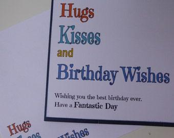 Birthday Card - BLUE Hugs, Kisses & Birthday Wishes, Birthday, Happy Birthday, Women, Ladies, Birthday,