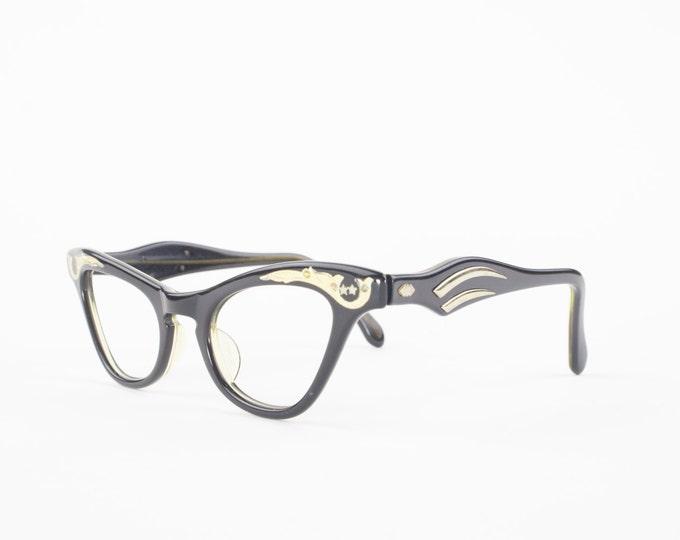 60s Vintage Cateye Eyeglasses | 1960s Black and Gold Glasses Frame | NOS Eyeglass Frame | Deadstock Eyewear - Prouve