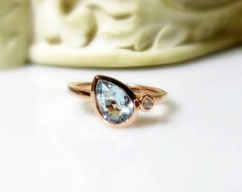 Aquamarine Pear and Diamond 14K Gold, Made to Order, Tear Drop, Alternative Engagement, Non Traditional, Side Swept