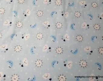 Flannel Fabric - Sun Cloud Stars Moon - 1 yard - 100% Cotton Flannel