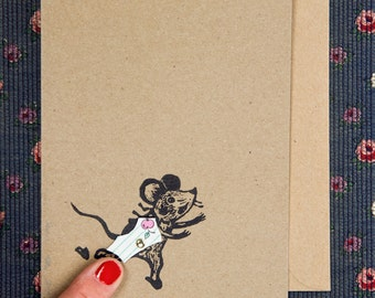 Funny greeting card - Mouse with rotatable pants for a peek underneath