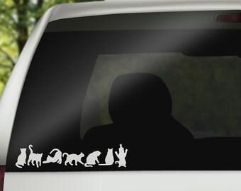 White Cat Car Decals, Cat Stickers, Cat Silhouette Vinyl Decal, Cat Laptop Decal, Cat Car Decal