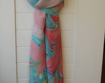 Handmade Water-marbled Silk Scarf - Hot Pink, Turquoise