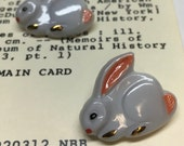 Set of 4 Vintage Czech Glass Bunny Rabbit Novelty Buttons with Metal Shank (27mm)