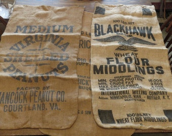AMAZING & RARE! 3 Large Vintage Burlap Seed Sacks or Feed Sacks Black Hawk Virginia Peanuts Flour Middlings EXC!
