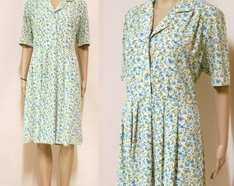 Vintage 80s Dress Climbing Floral Retro Hippie Blue Cream Mid Length Vtg 1980s Size S-M