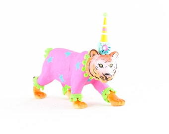 "Jumbo Party Animal  ""Betty"" the Tiger painted carnival, circus, and birthday decor"